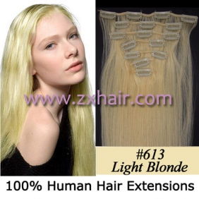 "15"" 7pcs set Clip-in hair remy Human Hair Extensions #613"