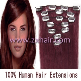 "15"" 7pcs set Clip-in hair remy Human Hair Extensions #bug"
