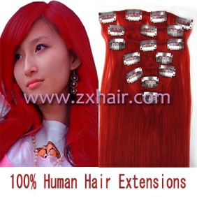 "15"" 7pcs set Clip-in hair remy Human Hair Extensions #red"