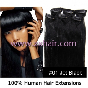 "20"" 6pcs set Clips-in hair remy Human Hair Extensions #01"