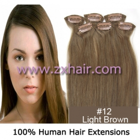 "20"" 6pcs set Clips-in hair remy Human Hair Extensions #12"