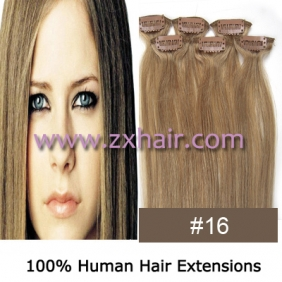 "20"" 6pcs set Clips-in hair remy Human Hair Extensions #16"