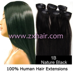 "20"" 6pcs set Clips-in hair remy Human Hair Extensions #1B"