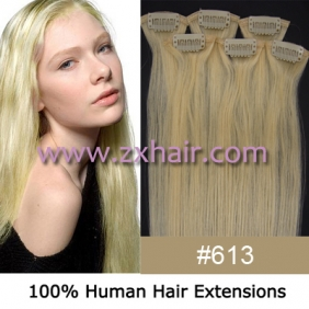 "20"" 6pcs set Clips-in hair remy Human Hair Extensions #613"