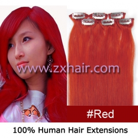 "20"" 6pcs set Clips-in hair remy Human Hair Extensions #red"