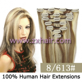 "20"" 7pcs set Clip-in hair remy Human Hair Extensions #8/613"