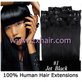 "20"" 8pcs set Clip-in hair remy Human Hair Extensions #01"
