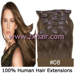 "20"" 8pcs set Clip-in hair remy Human Hair Extensions #08"