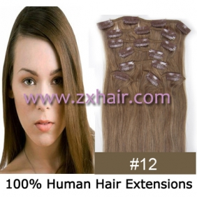 "20"" 8pcs set Clip-in hair remy Human Hair Extensions #12"