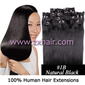"20"" 8pcs set Clip-in hair remy Human Hair Extensions #1B"