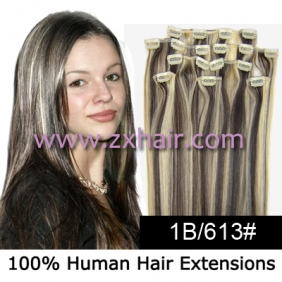 "20"" 8pcs set Clip-in hair remy Human Hair Extensions #1B/613"