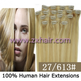 "20"" 8pcs set Clip-in hair remy Human Hair Extensions #27/613"