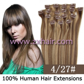 "20"" 8pcs set Clip-in hair remy Human Hair Extensions #4/27"