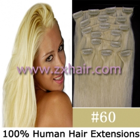 "20"" 8pcs set Clip-in hair remy Human Hair Extensions #60"