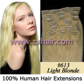 "20"" 8pcs set Clip-in hair remy Human Hair Extensions #613"