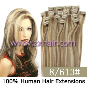 "20"" 8pcs set Clip-in hair remy Human Hair Extensions #8/613"