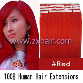 "16"" 30g Tape Human Hair Extensions #red"