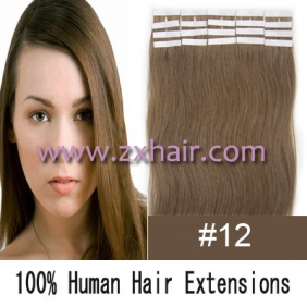 "20"" 50g Tape Human Hair Extensions #12"