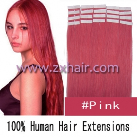 "20"" 50g Tape Human Hair Extensions #pink"