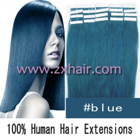 "24"" 70g Tape Human Hair Extensions #blue"