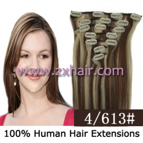 "18"" 7pcs set Clips-in hair 70g remy Human Hair Extensions #4/613"