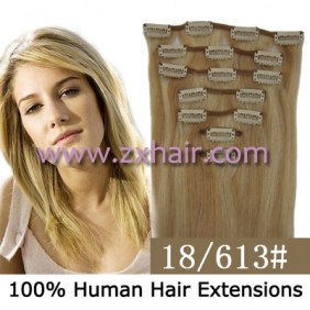 "18"" 7pcs set Clips-in hair 70g remy Human Hair Extensions #18/613"