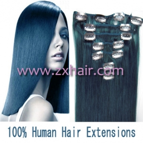 "18"" 7pcs set Clips-in hair 70g remy Human Hair Extensions #blue"