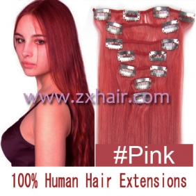 "22"" 7pcs set Clips-in hair 80g remy Human Hair Extensions #pink"