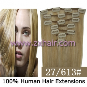 "22"" 7pcs set Clips-in hair 80g remy Human Hair Extensions #27/613"