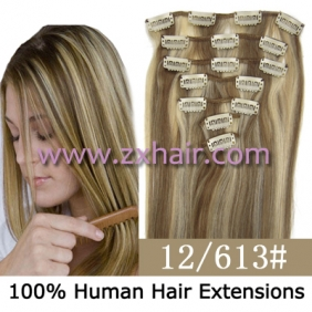 "22"" 7pcs set Clips-in hair 80g remy Human Hair Extensions #12/613"