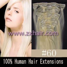 "22"" 7pcs set Clips-in hair 80g remy Human Hair Extensions #60"