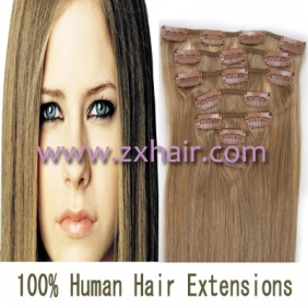 "22"" 7pcs set Clips-in hair 80g remy Human Hair Extensions #16"