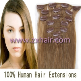 "22"" 7pcs set Clips-in hair 80g remy Human Hair Extensions #12"