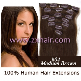 "22"" 7pcs set Clips-in hair 80g remy Human Hair Extensions #04"