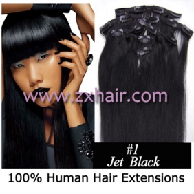 "22"" 7pcs set Clips-in hair 80g remy Human Hair Extensions #01"