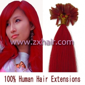 "100S 16"" Nail tip hair remy Human Hair Extensions #red"