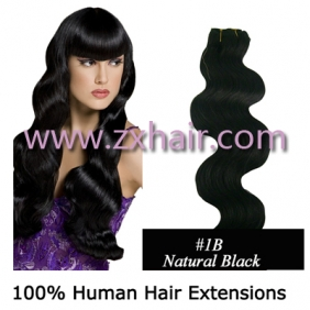 "20"" Wave remy Human Hair Weft/Extensions 50\"" Wide #1B [2010008606]"