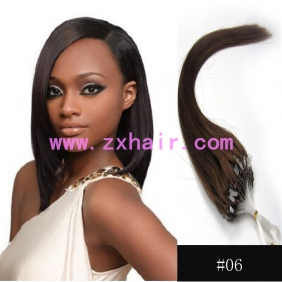 "100S 18"" Micro rings/loop hair remy human hair extensions #06"