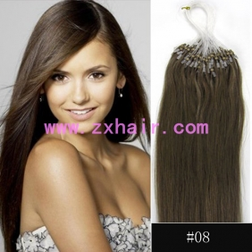 "100S 20"" Micro rings/loop hair remy human hair extensions #08"