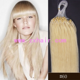 "100S 20"" Micro rings/loop hair remy human hair extensions #60"