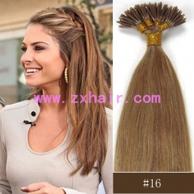 "100S 18"" Stick tip hair remy 0.5g/s human hair extensions #16"