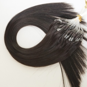 "100S 18"" Micro rings/loop hair 1g/s human hair extensions #1B Double Beads"