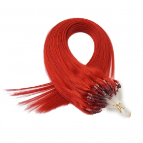 "100S 18"" Micro rings/loop hair 1g/s human hair extensions #red Double Beads"