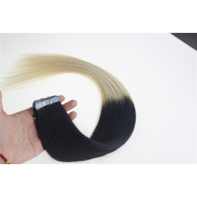 "22"" 60g Tape Human Hair Extensions #01/613 Ombre"