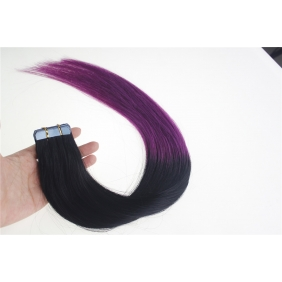 "24"" 70g Tape Human Hair Extensions #01/Purple Ombre"
