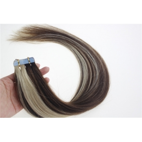 "16"" 30g Tape Human Hair Extensions #4/613 Mixed"