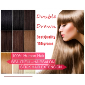 "28 Colors 100S 16""-22\"" Stick tip hair 1g/s human hair extensions Double Drawn [2017092201]"