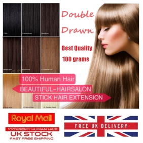 "UK Stock 28 Colors Double Drawn 100S 16""-22"" Stick tip hair 1g/s human hair extensions"
