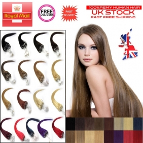 "UK Stock 29 Color 100S 16""-26"" Micro rings/loop hair remy human hair extensions"